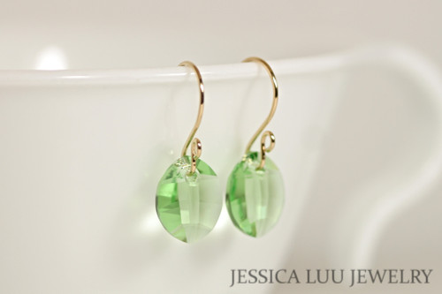 14K yellow gold filled peridot green Swarovski crystal leaf pendant dangle earrings handmade by Jessica Luu Jewelry
