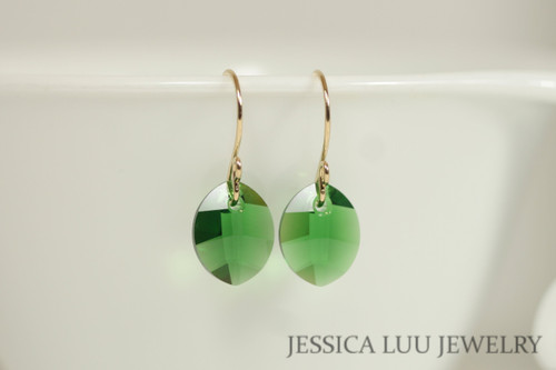 14K gold filled dark moss green Swarovski crystal leaf pendant dangle earrings handmade by Jessica Luu Jewelry