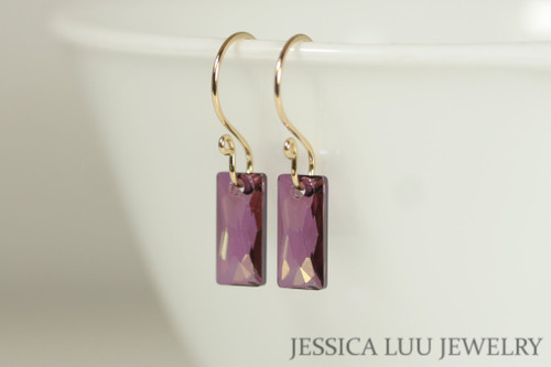 14K yellow gold filled lilac shadow purple Swarovski crystal baguette pendant dangle earrings handmade by Jessica Luu Jewelry