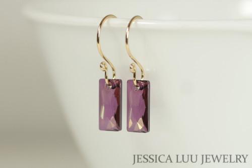 14K yellow gold filled lilac shadow purple crystal baguette pendant dangle earrings handmade by Jessica Luu Jewelry