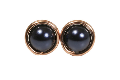 14K rose gold filled wire wrapped dark navy night blue Swarovski pearl stud earrings handmade by Jessica Luu Jewelry
