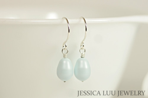 Sterling Silver Pastel Blue Pearl Dangle Earrings