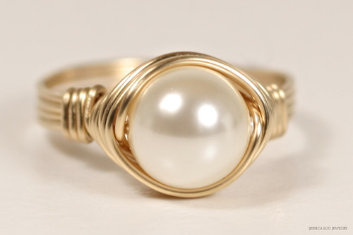 14K yellow gold filled wire wrapped ivory cream Swarovski pearl solitaire ring handmade by Jessica Luu Jewelry