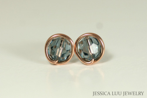 14K rose gold filled wire wrapped blue grey Indian sapphire Swarovski crystal round stud earrings handmade by Jessica Luu Jewelry