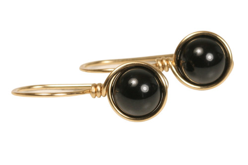 14K yellow gold filled wire wrapped  mystic black Swarovski pearl drop earrings handmade by Jessica Luu Jewelry