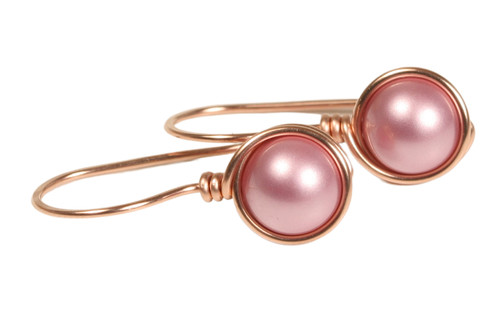 14K rose gold filled wire wrapped powder pink pearl drop earrings handmade by Jessica Luu Jewelry