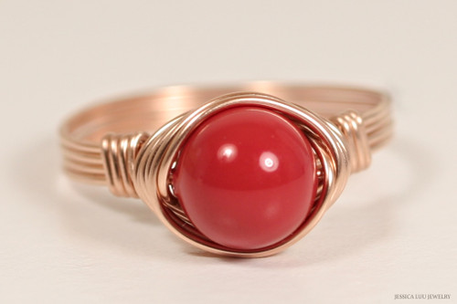 14K rose gold filled wire wrapped red coral Swarovski pearl solitaire ring handmade by Jessica Luu Jewelry