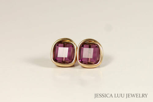 14K yellow gold filled wire wrapped amethyst purple Swarovski crystal square cube stud earrings handmade by Jessica Luu Jewelry