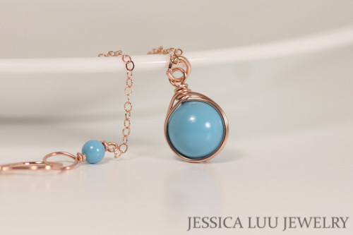 14K rose gold filled wire wrapped turquoise blue Swarovski pearl solitaire pendant on chain necklace handmade by Jessica Luu Jewelry