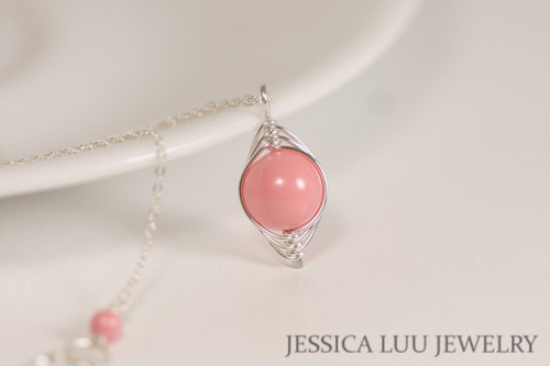 Sterling silver herringbone wire wrapped pink coral Swarovski pearl pendant on chain necklace handmade by Jessica Luu Jewelry