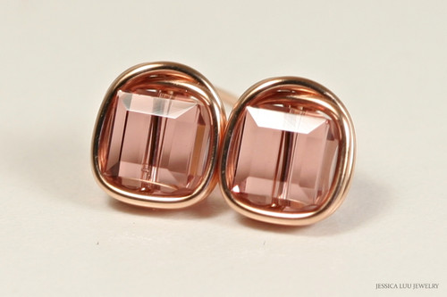 14K rose gold filled wire wrapped blush pink Swarovski crystal square cube stud earrings handmade by Jessica Luu Jewelry