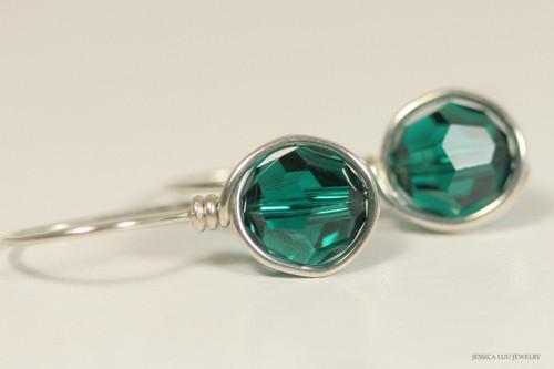 Sterling silver wire wrapped emerald green Swarovski crystal drop earrings handmade by Jessica Luu Jewelry