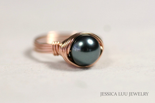 Rose Gold Black Tahitian Pearl Ring - More Metal Options Available