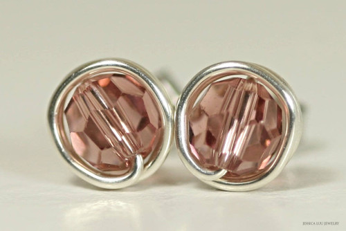 Sterling silver wire wrapped blush rose pink Swarovski crystal round stud earrings handmade by Jessica Luu Jewelry