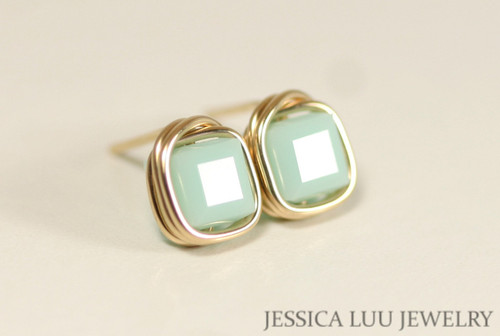 14K yellow gold filled wire wrapped light mint alabaster green Swarovski crystal cube square stud earrings handmade by Jessica Luu Jewelry