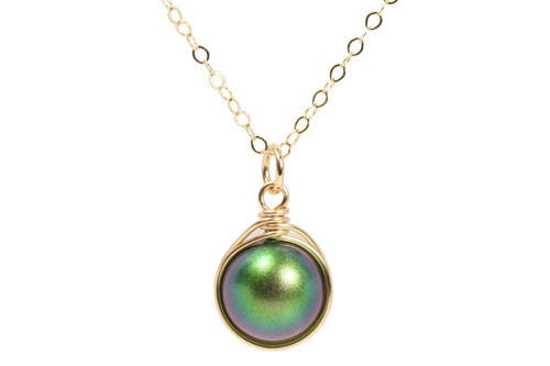 14K yellow gold filled wire wrapped scarabaeus green pearl solitaire pendant on chain necklace handmade by Jessica Luu Jewelry