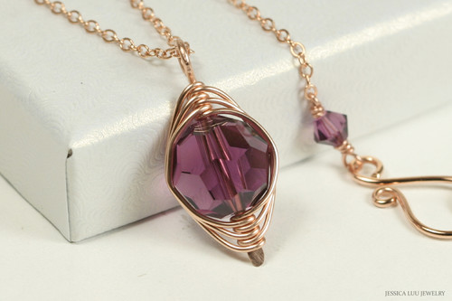 14K rose gold filled herringbone wire wrapped amethyst purple Swarovski crystal pendant on chain handmade by Jessica Luu Jewelry