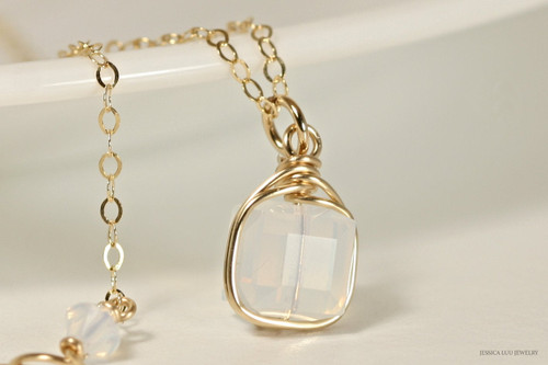14K yellow gold filled wire wrapped white opal Swarovski crystal cube pendant on chain necklace handmade by Jessica Luu Jewelry
