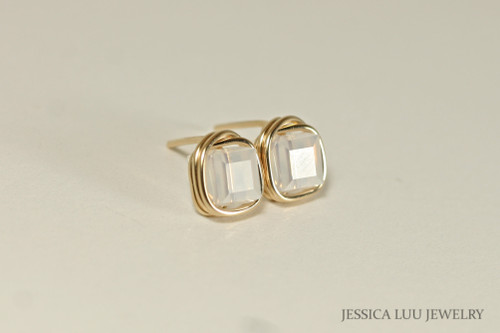 14K yellow gold filled wire wrapped white opal Swarovski crystal cube stud earrings handmade by Jessica Luu Jewelry