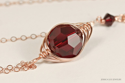 14K rose gold filled herringbone wire wrapped dark red garnet siam Swarovski crystal solitaire pendant on chain necklace handmade  by Jessica Luu Jewelry