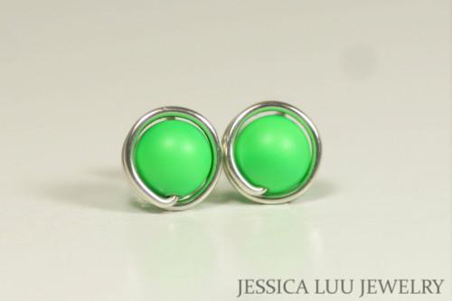 Sterling silver wire wrapped bright neon green Swarovski pearl stud earrings handmade by Jessica Luu Jewelry