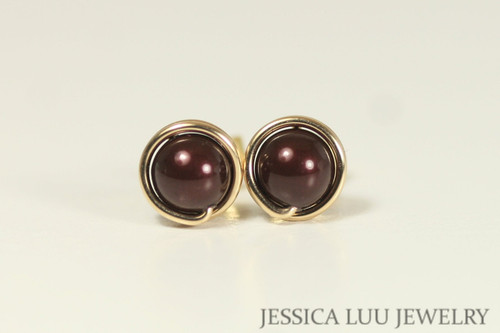 Gold Maroon Pearl Stud Earrings - More Metal Options Available