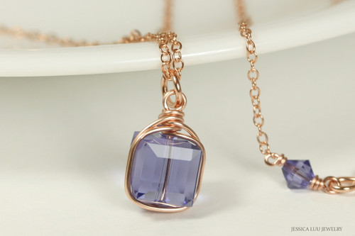 14K rose gold filled wire wrapped tanzanite Swarovski crystal cube pendant on chain necklace handmade by Jessica Luu Jewelry
