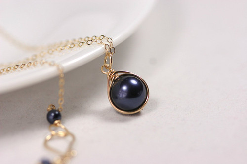 Gold Navy Blue Pearl Solitaire Necklace - Matching Earrings and Other Metal Options Available