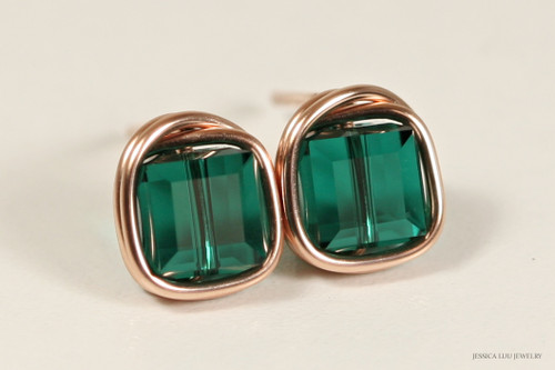 14K rose gold filled wire wrapped emerald green Swarovski crystal cube stud earrings handmade by Jessica Luu Jewelry