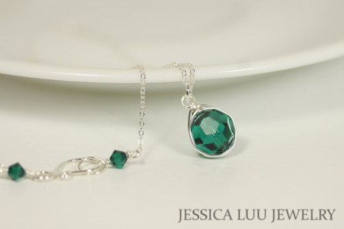 Sterling silver wire wrapped pendant on chain necklace with emerald green Swarovski crystals handmade by Jessica Luu Jewelry