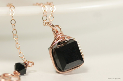 14K rose gold filled wire wrapped jet black Swarovski crystal cube pendant on chain necklace handmade by Jessica Luu Jewelry