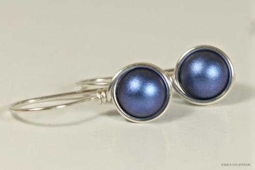 Sterling silver wire wrapped iridescent dark blue Swarovski pearl drop earrings handmade by Jessica Luu Jewelry