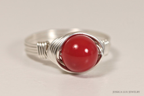 Sterling silver wire wrapped red coral Swarovski pearl solitaire ring handmade by Jessica Luu Jewelry