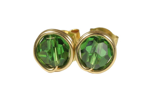 Gold Dark Green Crystal Stud Earrings - Available in 2 Sizes and More Metal Options