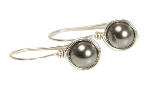 Sterling silver wire wrapped dark grey Swarovski pearl drop earrings handmade by Jessica Luu Jewelry