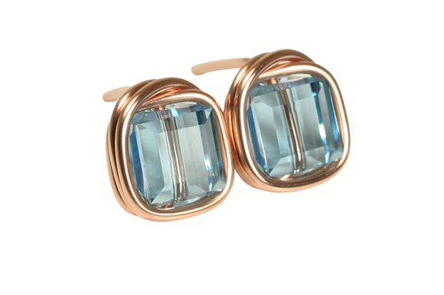 14K rose gold filled wire wrapped aquamarine blue crystal cube square stud earrings handmade by Jessica Luu Jewelry