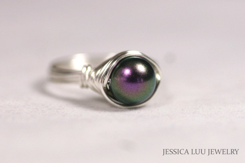 Sterling Silver Dark Purple Pearl Ring - More Metal Options Available
