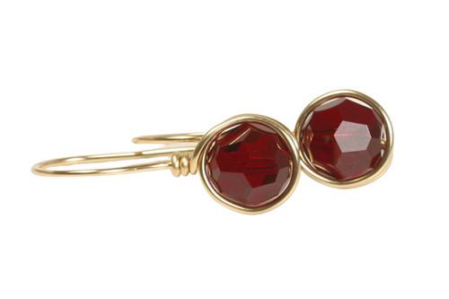 14K yellow gold filled wire wrapped dark red garnet siam crystal drop earrings handmade by Jessica Luu Jewelry