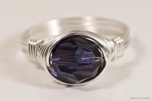 Sterling silver wire wrapped dark purple velvet Swarovski crystal solitaire ring handmade by Jessica Luu Jewelry