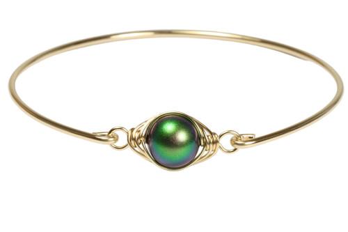 14k yellow gold filled wire wrapped bangle bracelet with scarabaeus green Swarovski pearl handmade by Jessica Luu Jewelry