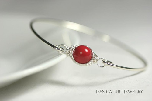Sterling silver wire wrapped bangle bracelet with red coral Swarovski pearl handmade by Jessica Luu Jewelry