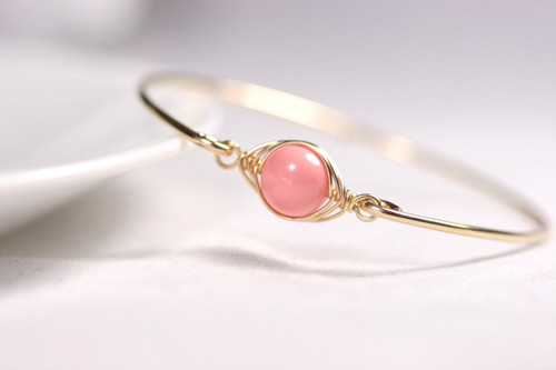 14k yellow gold filled wire wrapped bangle bracelet with pink coral Swarovski pearl handmade by Jessica Luu Jewelry