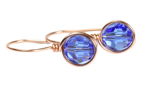 14K rose gold filled wire wrapped sapphire blue crystal drop earrings handmade by Jessica Luu Jewelry