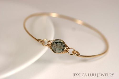 14k yellow gold filled wire wrapped bangle bracelet with black diamond crystal handmade  by Jessica Luu Jewelry