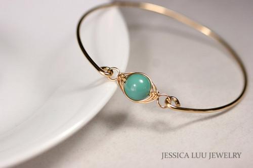 14k yellow gold filled wire wrapped bangle bracelet with jade Swarovski pearl handmade by Jessica Luu Jewelry