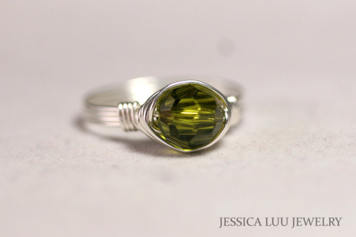 Sterling Silver Olive Green Swarovski Crystal Ring - Other Metal Options