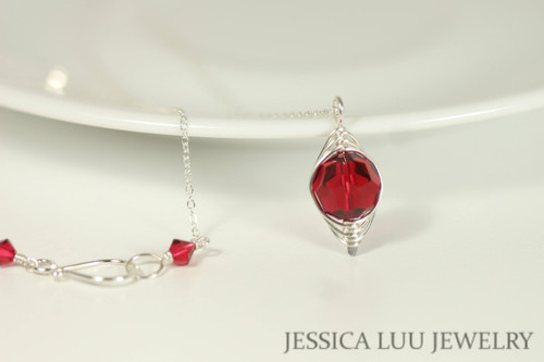 Sterling Silver Ruby Red Swarovski Crystal Necklace - Available with Matching Earrings and Other Metal Options