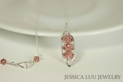 Sterling silver herringbone wire wrapped three stone blush rose pink Swarovski crystal pendant on chain necklace handmade by Jessica Luu Jewelry