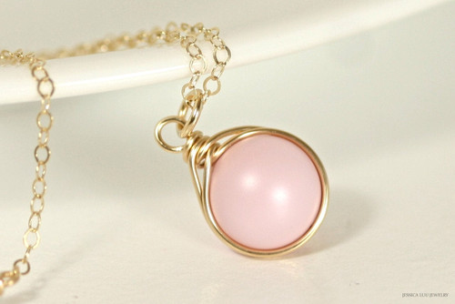 14K yellow gold filled wire wrapped pastel pink Swarovski pearl solitaire pendant on chain necklace handmade by Jessica Luu Jewelry