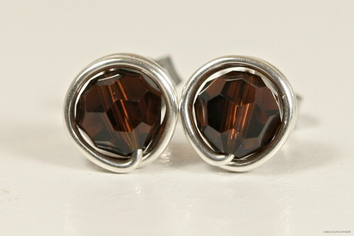 Sterling silver wire wrapped mocca dark brown Swarovski crystal round stud earrings handmade by Jessica Luu Jewelry